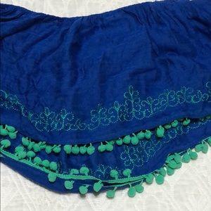 Anthropologie Floreat Blue & Green Pompom Scarf